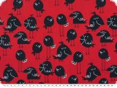 Leftover, birds, cotton print, red-black, 140x190cm