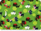 Leftover, Cotton jersey, dogs, green, 140x158cm