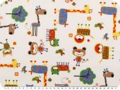 Children fabric, cotton, animals, multicolour, 140cm