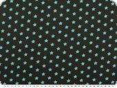 Cotton print with stars, brown-turquoise, 148cm