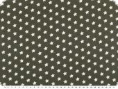 Cotton print with stars, middle grey-white, 148cm