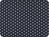 Cotton print with stars, navy blue-white, 148cm