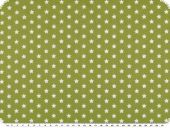 Cotton print with stars, light green-white, 148cm