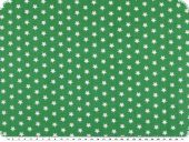 Cotton print with stars, green-white, 148cm