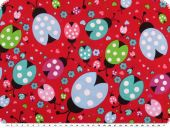 Children fabric, cotton, beetles, red-multicolour, 140cm