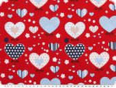 Cotton print, hearts, multicolour on read, 140cm