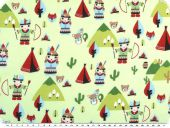 Children fabric, cotton, indians, mint multicolour, 140cm