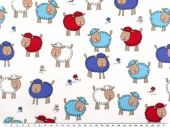 Children fabric, cotton, sheep, white-multicol., 140cm