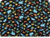 Children fabric, Cotton-Jersey,  fshes, black,150-155cm