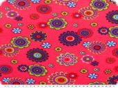 Nice cotton jersey, flowers, pink-multicolour, 142-145cm