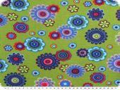 Nice cotton jersey, flowers, green-multicolour, 142-145cm