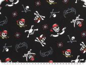 Cotton jersey for children, skulls, black, 150cm