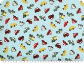 Children fabric, vehicles, sky blue, 140cm