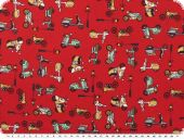 Nice cotton print, vehicles, red-multicolour, 140cm