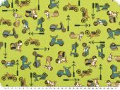 Nice cotton print, vehicles, yellow-olive, 140cm