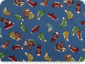 Children fabric, cotton, shoes, blue, 140cm