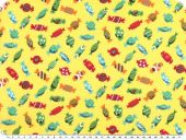 Children fabric, cotton, sweets-2, yellow, 140cm