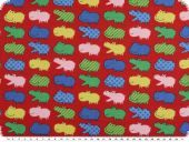 Children fabric, cotton, animals-hippos, multicolour, 140cm