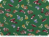 Cotton jersey, children fabric,  shoes, green, 150cm
