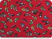 Cotton jersey, children fabric,  shoes, cherry, 150cm