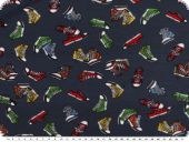 Cotton jersey, children fabric,  shoes, nightblue, 150cm