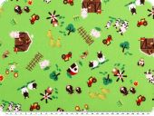 Children fabric, cotton, farm 1, apple green, 140cm
