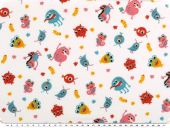 Cotton-Jersey for children, little monsters, white, 150cm