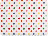 Cotton jersey, coloured dots on white, 155cm