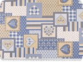 Cotton poplin, patch, brown-blue-white, 145cm