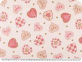 Cotton poplin,hearts, fwhite-brown-rose, 145cm