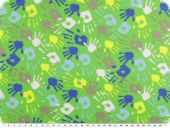 Cotton jersey, coloured hands on neon green ground, 150cm
