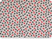 Cotton jersey, anchors, light grey-blue-red, 150cm