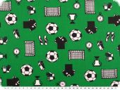 Cotton print, football, green, 140cm