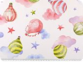 Cotton print, balloons , white-multicolour, 145cm
