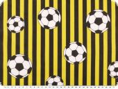 Cotton print, footbal and stripes, yellow and black, 140cm