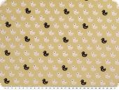 Cotton print, ducks, beige-white-black, 145cm