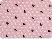 Cotton print, ducks, rose-white-black, 145cm