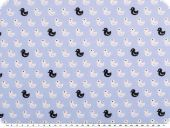Cotton print, ducks, light blue-white-black, 145cm