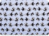 Cotton print, cheeky crows, light blue-black, 145cm