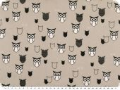 Cotton print, owls, light grey-black-white, 145cm