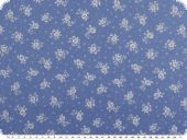 Cotton print, flowers, denim blue-white, 145cm