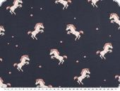Children fabric, Cotton-Jersey, unicorns, navy, 150cm