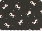 Children fabric, Cotton-Jersey, unicorns, dark grey, 150cm