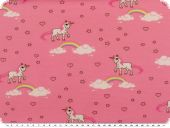 Cotton-Jersey, children fabric, unicorns, rose pink, 150cm