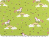 Cotton-Jersey, children fabric, unicorns, yellow green 150cm