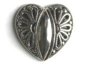 full metall button heart- Size: 15mm - Color: antique silver