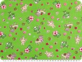 Children fabric, cotton, rabbits and bears, green, 150cm