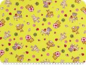 Children fabric, cotton, rabbits and bears, yellow, 150cm
