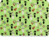 Children fabric, cotton print, cats, light green, 140cm