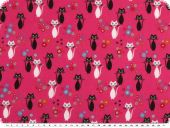 Children fabric, cotton print, cats, neon pink, 140cm